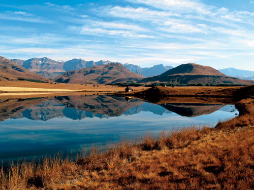 Trout lake in winter in the Drakensberg